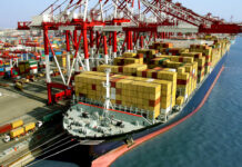 crowded container terminal