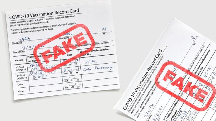 Fake COVID vaccination card